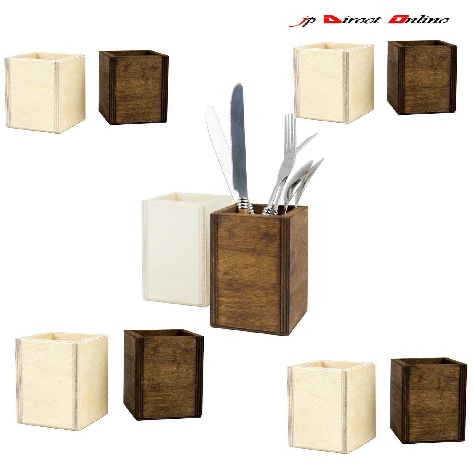 10 x Handmade Rustique en Bois Chêne Foncé Naturel Table Top condiment CUTLERY Holder
