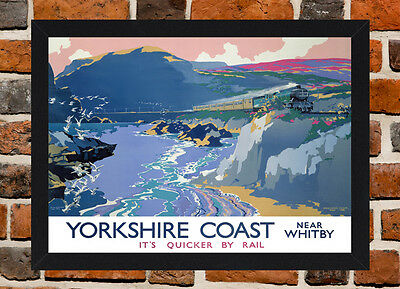 White Frame A3 Size In Black Framed Whitby Yorkshire Railway Poster A4