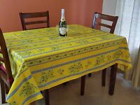French Tablecloth Provencal Acrylic Coated Cotton Olive Yellow Blue 61x78 Inches