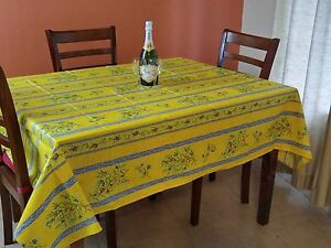 Image Is Loading French Tablecloth Provencal Acrylic Coated Cotton Olive  Yellow