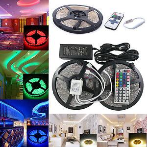 1m-10m-SMD-3528-5050-5630-RGB-300LED-Strip-Light-Flexible-IR-Remote-Power-Supply