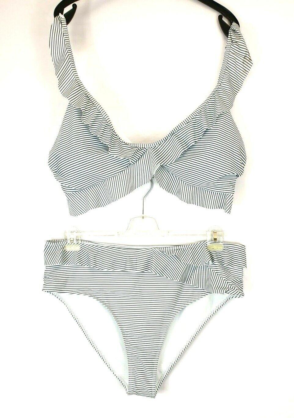 K13) Shein Bikini Swimsuit Size XXXL 3XL Striped NEW