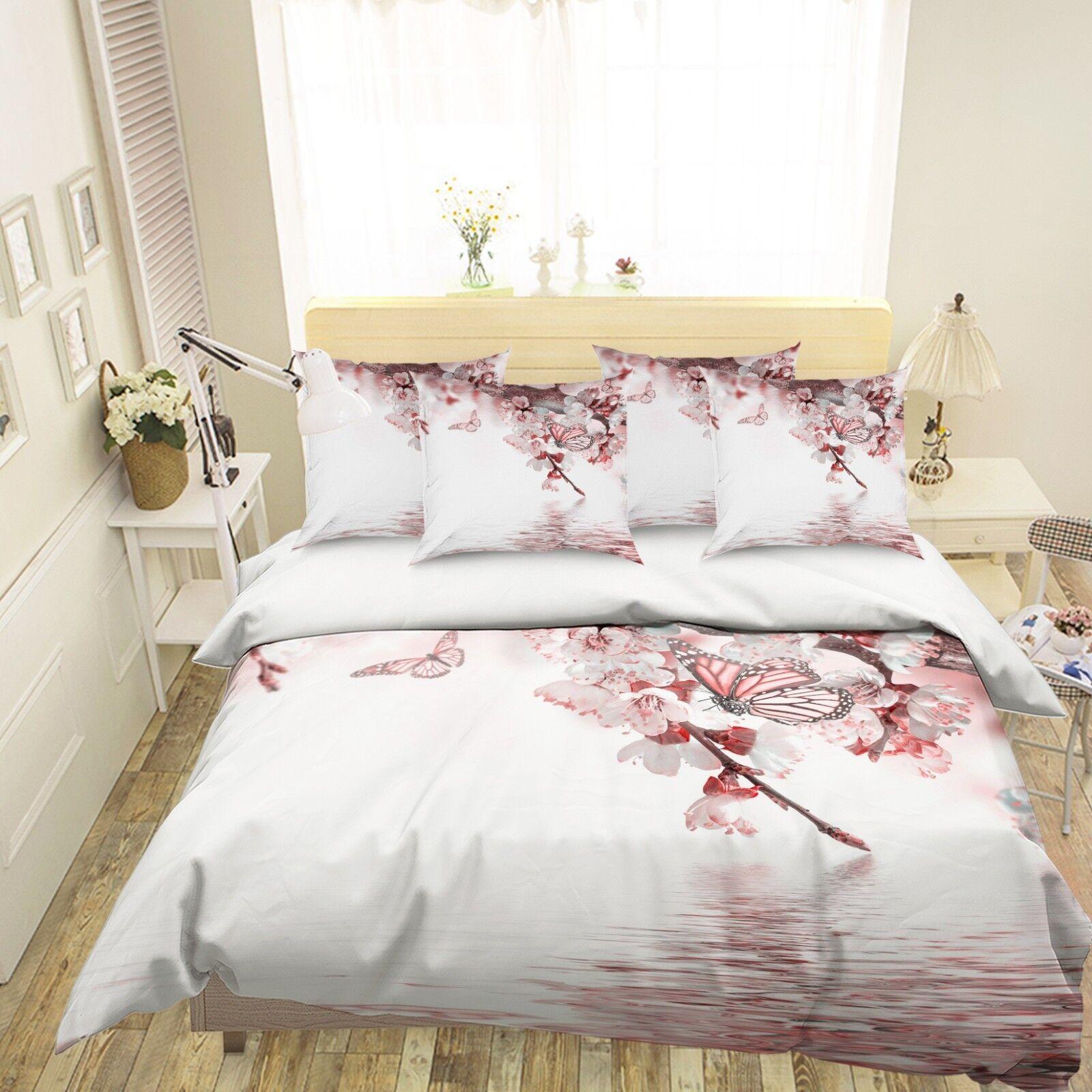 3D Pink Butterfly 26 Bed Pillowcases Quilt Duvet Single Queen King US Lemon