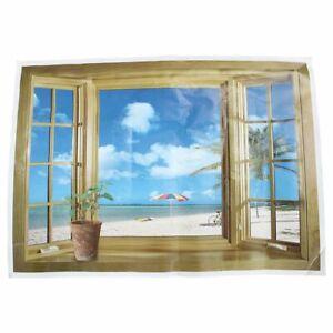 Large-3D-Fenster-Strand-Meerblick-Wandaufkleber-Kunst-Aufkleber-Wandbild-De-B3B9