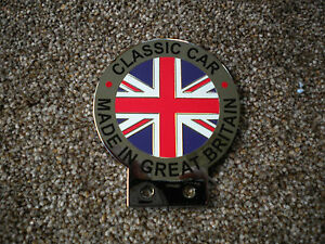 UNION JACK CHROME AND ENAMEL CAR BADGE MADE IN GB