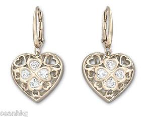 Image Is Loading Swarovski Tasha Pierced Earrings Heart Shaped Rose Gold