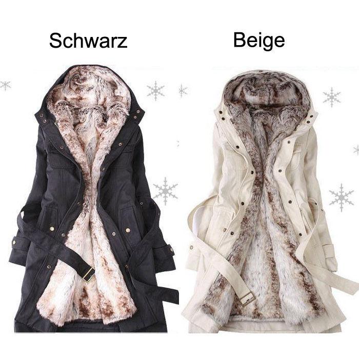 Téli női kabát faux szőrme Ling 2 in1 Hoodie Parka Overcoat hosszú kabátok