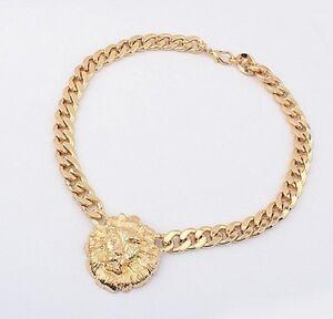 Fashion-Jewelry-Lion-Statement-Head-Women-Choker-Bib-Gold-Pendant-Necklace-Chain