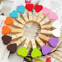 10/20/50 Wooden Pegs Heart Photo Clips Room Party Wedding Table Decoration