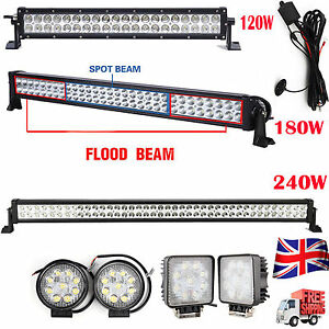 Led 21 32 42 Work Light Bar Or Wiring For Offroad Suv Jeep Ute Driving Lamp Ebay