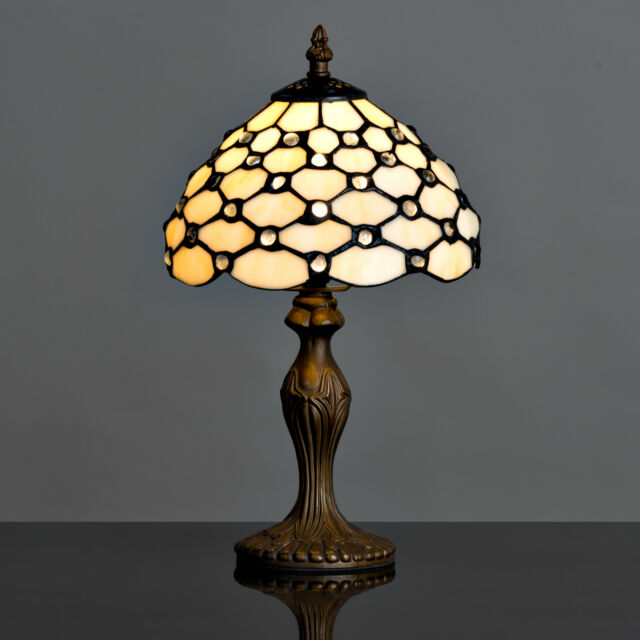 Cream beaded tiffany style stained glass table lamp bedside light cream beaded tiffany style stained glass table lamp bedside light lounge aloadofball