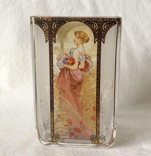 Goebel Artis Orbis Windlicht Sommer 1900 Teelicht Glas 10 cm von Alfonse Mucha