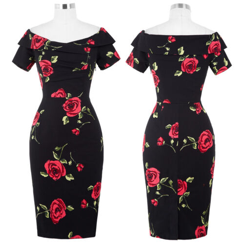 WOMENS VINTAGE 1950/'S PIN UP OFFICE WIGGLE COCKTAIL PARTY PENCIL DRESS SIZE 4-18