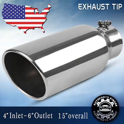 """6/""""Outlet Polished Diesel Bolt On 18/""""Long 4/""""Inlet Exhaust Tip Stainless Steel"""