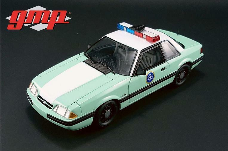 GMP 1:18 1988 Ford Mustang US Border Patrol SSP Diecast Model Car verde 18845
