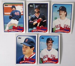 Details About 1989 Topps Traded Boston Red Sox Team Set Of 5 Baseball Cards