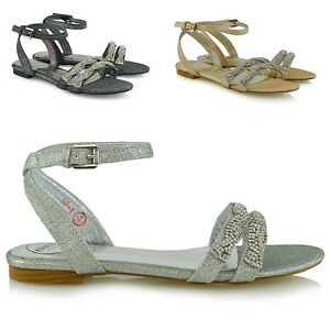 Womens Flat Strappy Sandals Ladies Diamante Summer Holiday Casual Beach Shoes