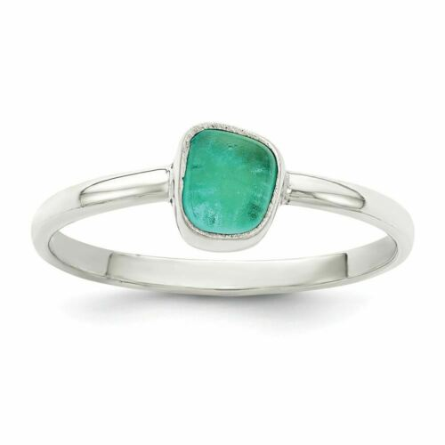 Sterling Silver Teal Sea Glass Ring MSRP $72