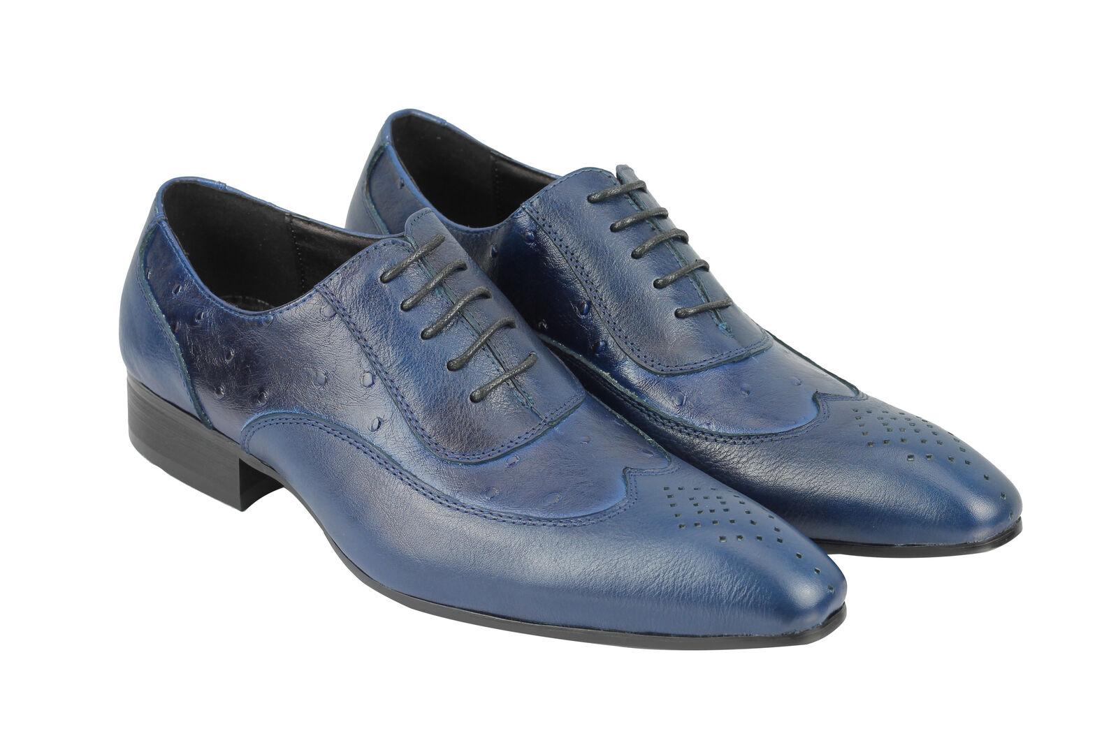 Mens All Blau Real Leder 2 Tone Blau All Italian Style Dress Schuhes 6.5 7 8 9 10 11 11.5 72c4d4