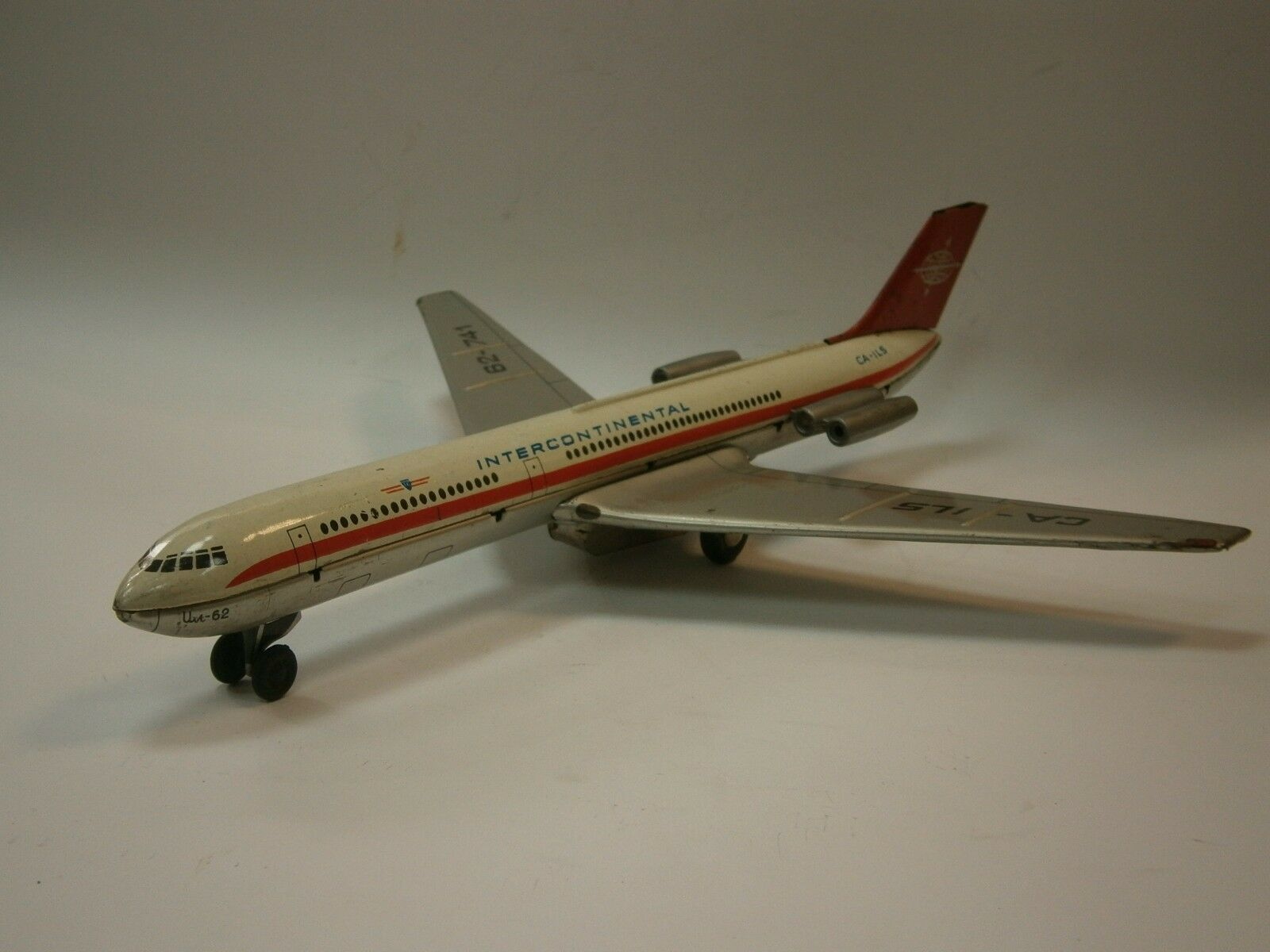 VINTAGE DDR FRICTION TIN TOY USSR IL-62 AIRCRAFT AIRPLANE INTERCONTINENTAL