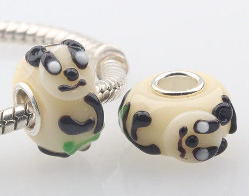 SILVER MURANO GLASS BEAD LAMPWORK Animal European Charm Bracelet DW023