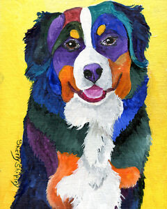 Bernese-Mountain-Dog-8X10-DOG-Print-from-Artist-Sherry-Shipley