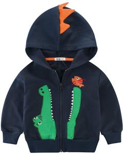 LitBud Kids Boys Hoodies for Toddler Cartoon Dinosaur Crocodile Zipper Packaway