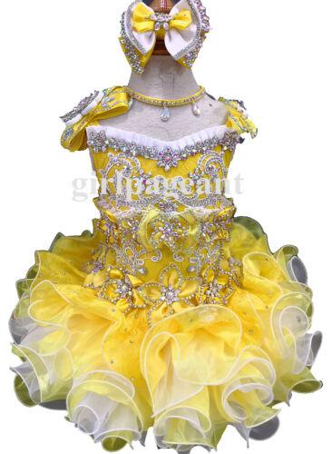 Jaune pour Bébé//Bambin//Bébé Glitz Pageant//formel robe 016 avec Hairbow