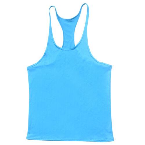 Mens Gym Bodybuilding Vest Workout Tank Top Muscle Stringer Singlet Racer Y Back