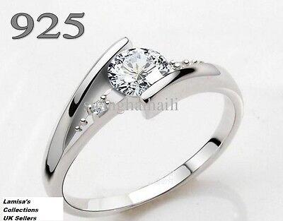 Diamond Ring 925 Silver Size I to U.