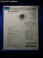 Sony Service Manual D EJ100 EJ101 EJ101CK EJ106CK CD Player (#5803)