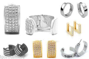 High-Grade-Steel-Crystal-Women-Men-039-s-Huggie-Hoop-Ear-Stud-Earrings-Pair