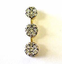 14k yellow gold .42ct SI2 H cluster 3 stone diamond pendant charm 1.7g estate