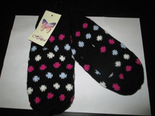 CHILDREN/'S KNITTED MITTENS,THERMAL LINED ONE SIZE LAST FEW BLACK SPOTTY