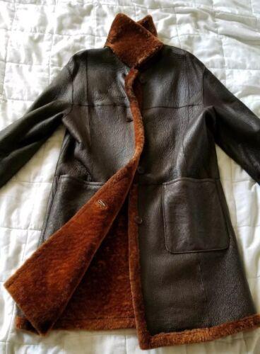 Sheepskin Shearling Lightweight Genuine Coat Red Leather Shimmering S Brown qtFn6xwB