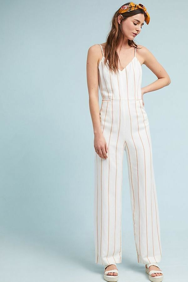 148 New The Essential Yarn Dyed Jumpsuit Anthropologie Size  6 Small White