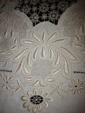 Very Rare Vintage Linen banquet tablecloth hand embroidered by Sisters of Italy