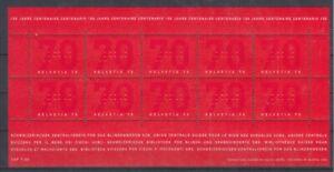 Suisse-1828-Zentralverein-pour-la-Blindenwesen-Feuilles-Miniature-MNH