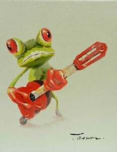 8x10-Frog-Playing-Acoustic-Guitar-Original-Canvas-Oil-Painting-New-Wall-Art-Work