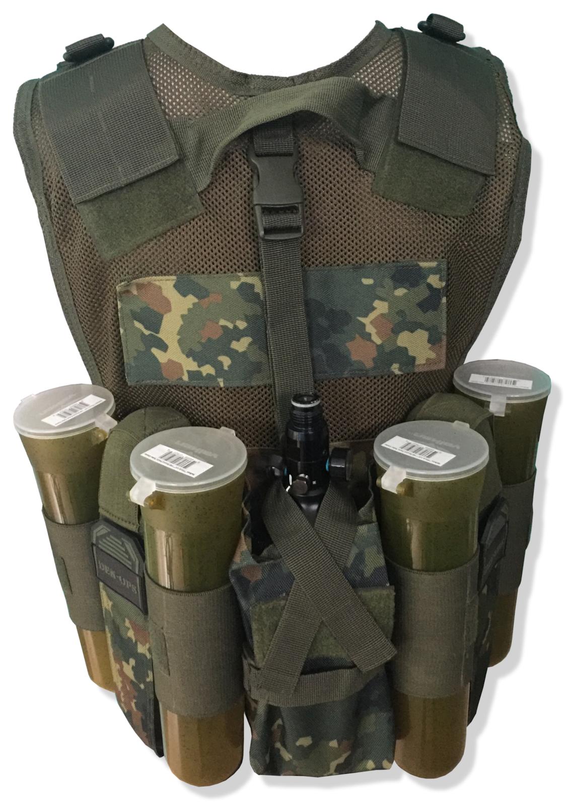 Paintball Gilet Den-Ops Tactical Tactical Tactical Assault Harnais pot Transporteur Free Remote Cover ddb346