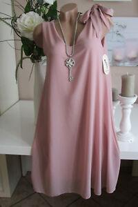 Rosa 40 44 Tunica Italia Chiffon Elegante Oversize 42 Fiocco Vestito nCxFfA
