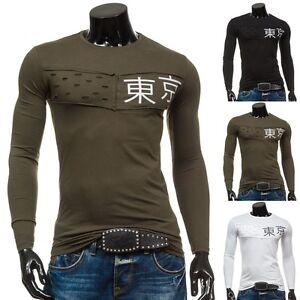 BOLF Herren Longsleeve Sweatshirt Langarm Pullover Casual Rundhals 1A1 Motiv