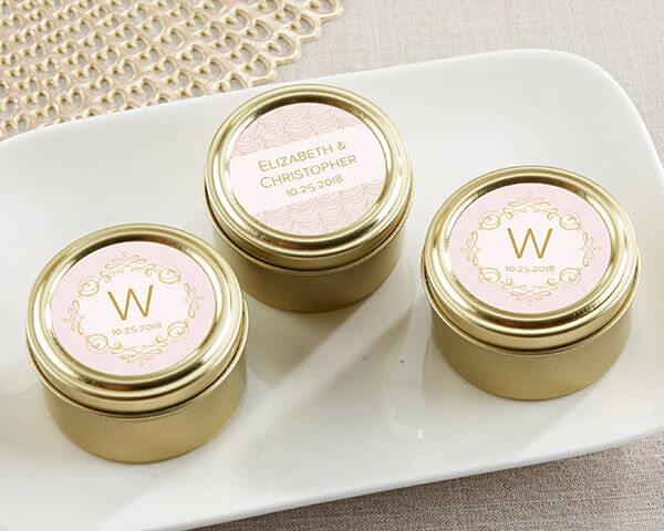 Personalized rose or Monogram Candy Tin Engagement Anniversary Wedding Favor