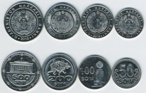 Uzbekistan set of 4 coins 50 100 200 500 Som  UNC
