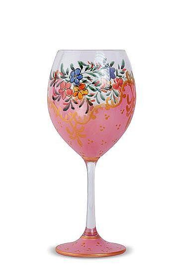 Pink flower design non-lead crystal wine glasses (set of 4)