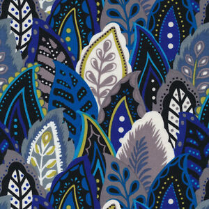 Marimba-Stacked-Leaves-Blue-Black-100-cotton-fabric-by-the-yard