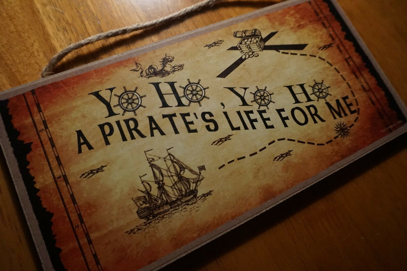 Ship Wheel Pirate Map Sign Beach Bedroom Decor YO HO A PIRATE/'S LIFE FOR ME
