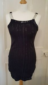 Spiral-direct-black-dress-top-size-S-Chains-on-shoulder-and-hip-emo-goth-punk