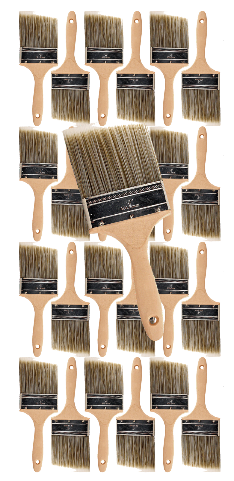 24PK 4  Flat House Wall,Trim Paint Brush Set Home Exterior or Interior Brushes