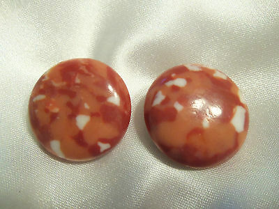 (JAPAN) FUNKY COOL Vintage Shades RED/ORANGE Lucite Disk CLIP Earrings 13EE02